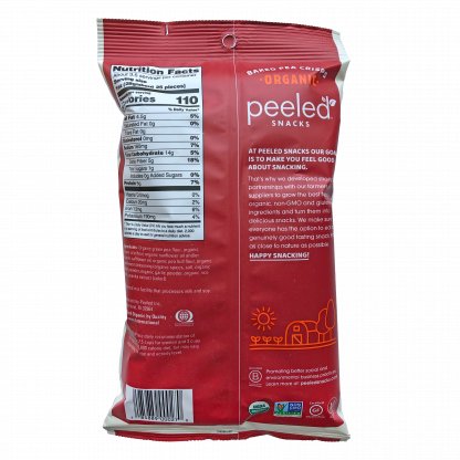 back of southwest spice pea crisp bag