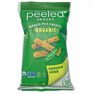 front of garden herb pea crisp bag