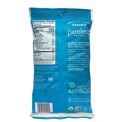 sea salt pea crisps 3.3oz bag, back