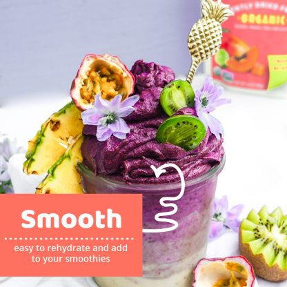 smoothie with fresh fruit and flowers