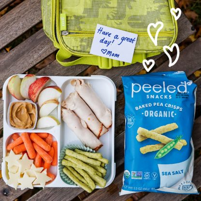 sea salt pea crisps with lunch box